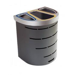 Papelera de reciclaje para recogida selectiva para tres tipos de residuos