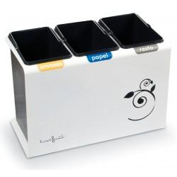 Papelera de reciclaje para recogida selectiva de tres tipos de residuos