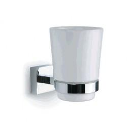 Porta vasos de porcelana blanca y latón cromado brillante
