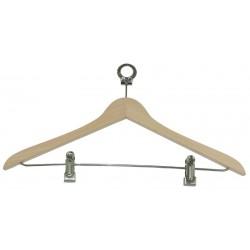 Percha de madera con gancho normal y anilla antivandalica