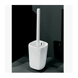 Escobillero simple fabricado en porcelana vitrificada blanca