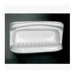 Jabonera esponjera fabricada en porcelana vitrificada blanca