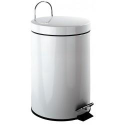 Cubo de pedal de acero lacado blanco de 12 litros de capacidad