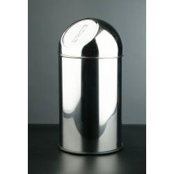 Papelera push de acero inoxidable brillante de 35 litros de capacidad