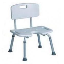 Silla para baño, con asiento regulable en altura de 33 a 43 cm.
