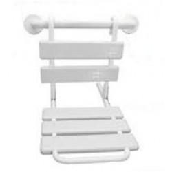 Asiento de ducha extraible y plegable para colocar sobre asidero, fabricado en acero inoxidable AISI304 y ABS.