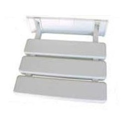 Asiento abatible a pared fabricado en aluminio y ABS acabado blanco.