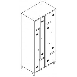 Taquilla metálica doble dos cuerpos, cuatro puertas en L