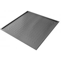 Plato de ducha extraplano de acero inoxidable satinado 90x90x1,5cm