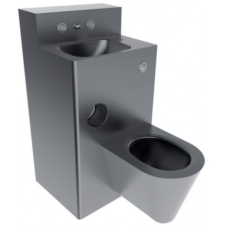 Conjunto de inodoro y lavabo de acero inoxidable satinado for Lavabo de acero inoxidable