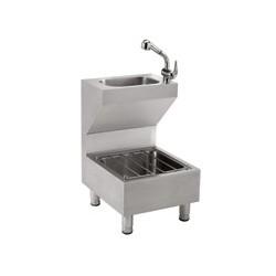 Combinado lava manos-vertedero de acero inoxidable satinado