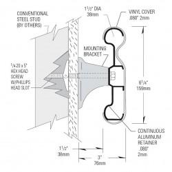 Pasamanos-Paragolpes lineal con forma anatómica de aluminio con recubrimiento de PVC dos colores