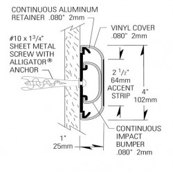 Paragolpes lineal de 45mm de aluminio con funda de PVC