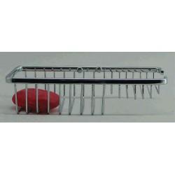 Jabonera rectangular fabricado en latón cromado 240x200x55 acabado brillante